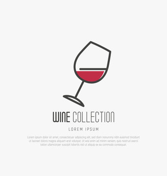 Logotype of wine and wine making. Modern thin line icons, flat style design.