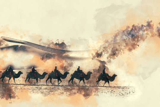 Camels in the desert  watercolor painting on white background with splash of ink, digital illustration