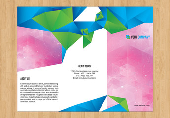 Trifold Brochure Layout with Geometric Elements 1