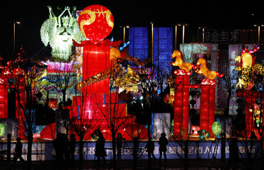 People look at giant illuminated lanterns in a park in the town of Zhaoyuan, located 100 km (62 miles) south of the city of Yantai, Shandong Province