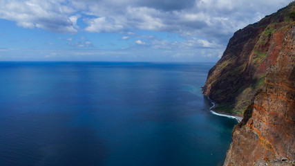 Madeira - Viewpoint at teleférico do rancho with abrupt cliffs to the ocean