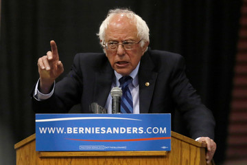 Democratic U.S. presidential candidate Sanders speaks at a campaign rally in Salem