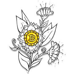 Bitcoin flower cartoon