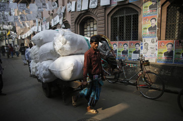 A man pulls a cart as he travels on a road filled with posters of election candidates during a strike in Dhaka