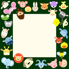 baby animal faces frame
