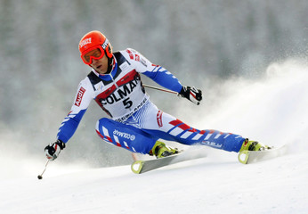 Cyprien Richard of France skis to the eighth best time in the first run of the men's World Cup giant slalom in Beaver Creek