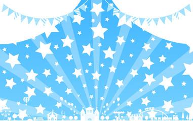 テーマパーク スター ブルー背景