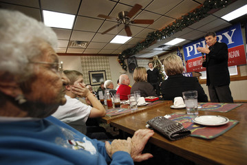 U.S. Republican Presidential candidate and Texas Governor Perry speaks during a campaign stop in Algona, Iowa