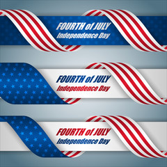 Set of web banners with texts and American flag, for Fourth of July, American Independence day, celebration; Vector illustration