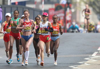 Shobukhova of Russia leads the pack during the final stages of the women's London marathon in London