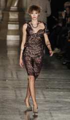 A model presents a creation from the Vivienne Westwood Fall/Winter 2011 collection at London Fashion Week