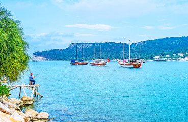 The yachts in harbor of Kemer