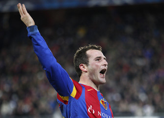 FC Basel's Frei reacts after winning against Manchester United during their Champions League group C soccer match in Basel