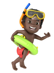 3d render of a kid wearing swimwear and goggles running with a floater