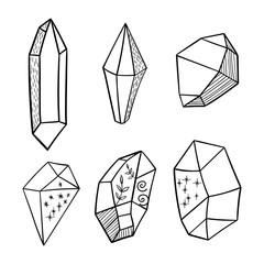 Vector hand drawn boho crystal elements