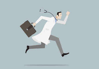 Emergency Hospital Concept: doctor with stethoscope running down hospital corridor.