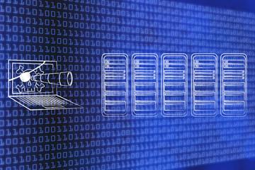 pirate laptop spying on database servers