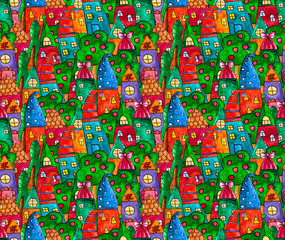 Fantasy bright sweet houses pattern in a whimsical childlike style. Cartoon houses. Cute dream watercolor hand paainted houses and trees.
