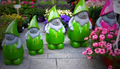 Dwarf decoration image. Group of garden dwarfs