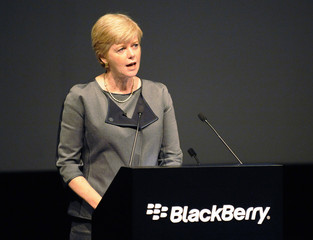 BlackBerry Chairperson Barbara Stymiest speaks at the company's annual meeting in Waterloo