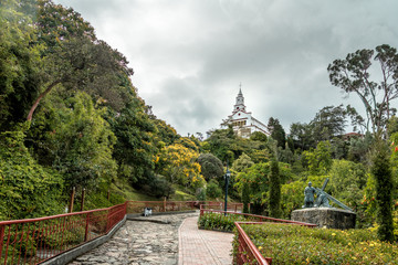Walkway on top of Monserrate Hill with Monserrate Church on background - Bogota, Colombia