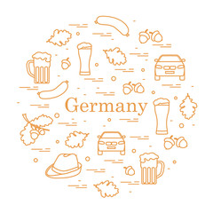 Vector illustration with various symbols of Germany arranged in a circle. Travel and leisure.