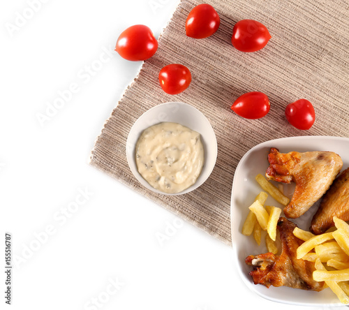Composition With Tasty Mayonnaise Sauce On White Background