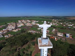 Fotobehang Zuid-Amerika land Aerial view of Christ the Redeemer in the city of Sertaozinho, Sao Paulo, Brazil.