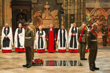 The close of the vigil at the Grave of the Unknown Solider in Westminster Abbey in London