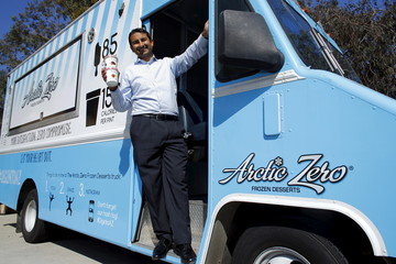 Arctic Zero Chief Executive Amit Pandhi poses with his company's healthy frozen dessert in San Diego
