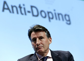 IAAF's President Coe looks on during his conference during the World Anti Doping Agency symposium in Lausanne