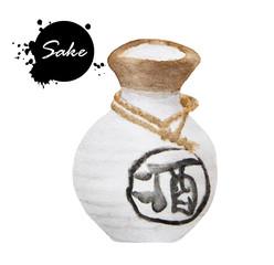 """Sake, """"saki"""" bottle, Japanese liquor, hand drawn, watercolor - Illustration"""