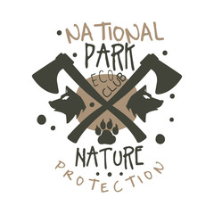 National park nature protection design template, hand drawn vector Illustration