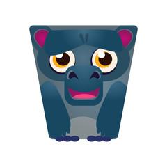 Cute cartoon geometric monkey, colorful cartoon character vector Illustration