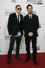 Chester Bennington and Mike Shinoda of Linkin Park arrive at the 40th American Music Awards in Los Angeles