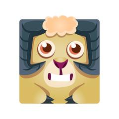 Cute geometric ram animal, colorful cartoon character vector Illustration