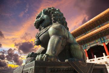 Autocollant pour porte Pékin Chinese guardian lion