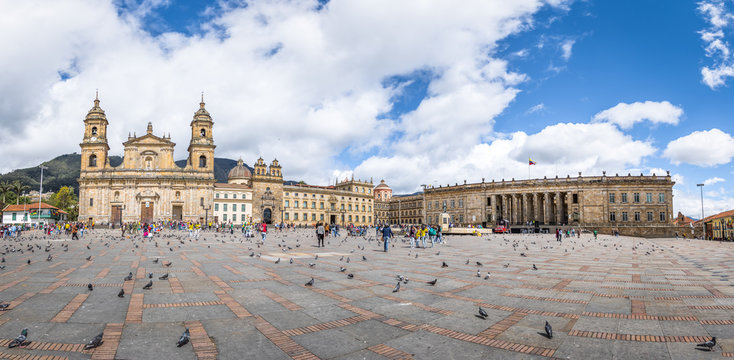 Panoramic view of Bolivar Square with Cathedral and Colombian National Capitol and Congress - Bogota, Colombia