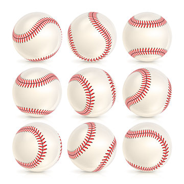 Baseball Leather Ball Close-up Set Isolated On White. SoftBall Base Ball. Realistic Baseball Icon. Vector Illustration
