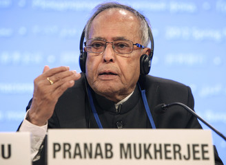 India's Finance Minister Pranab Mukherjee holds a news conference