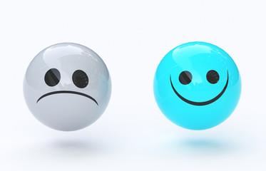 Faccia triste e felice, sentimenti, emozioni