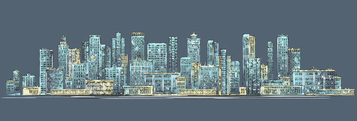 City skyline background. Hand drawn vector