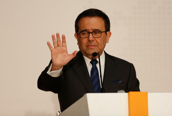 Guajardo gestures during an event in Mexico City