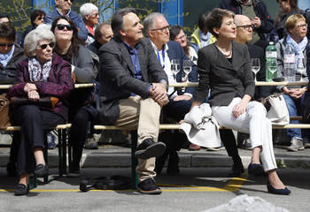 Swiss Justice Minister Sommaruga and Swiss Secretary of State and Director of the Swiss Federal Office of Migration Gattiker attends the opening of a Swiss Federal refugee center in Bern