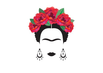 portrait of Mexican or Spanish woman minimalist Frida with earrings  and red flowers, vector isolated