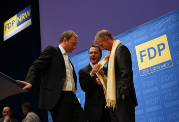Lindner, Bahr and Papke are seen at a one-day FDP NRW nomination party congress for the upcoming federal NRW elections in Duisburg