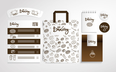 Home bakery identity design with food pattern, vector illustration.