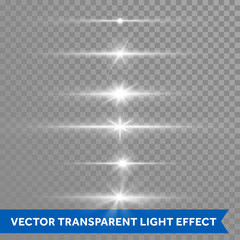 Light shine effect or starlight lens flare vector isolated icons transparent background