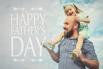 Adorable daughter and father portrait, happy family, father's day background