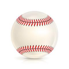 Baseball Leather Ball Close-up Isolated On White. Realistic Baseball Icon. Vector Illustration